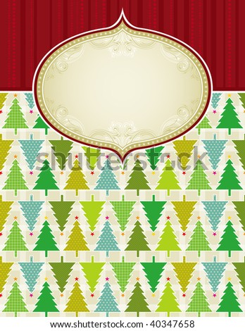 beige christmas background with christmas trees,  vector illustration - stock vector