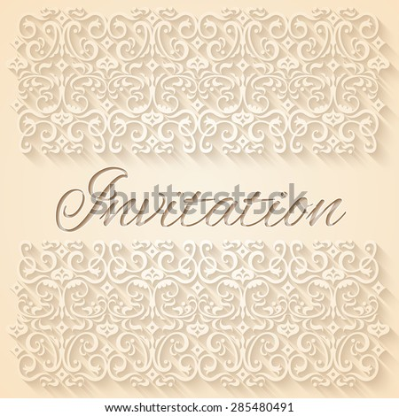 Beige floral ornament wedding invitation card. RGB EPS 10 vector illustration - stock vector