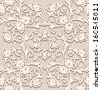 Beige floral seamless pattern, vector ornamental background  - stock