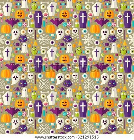 Beige Halloween Party Seamless Pattern. Flat Design Vector Seamless Texture Background. Halloween Holiday Template. Trick or Treat - stock vector