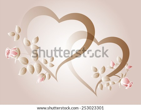 Beige hearts with red rose buds. EPS10 vector illustration. - stock vector