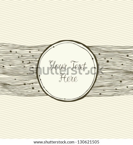 Beige linear horizontal banner. Vintage card with round frame. Retro border with place for your text - stock vector