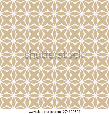 Beige ornamental symmetric pattern. Seamless vector background. - stock vector