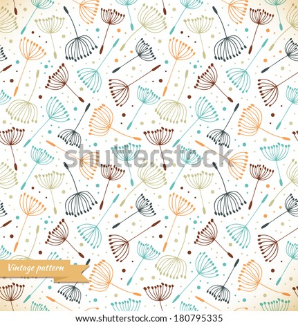 Beige ornate endless pattern. Seamless decorative texture with flowers. Background with fluff - stock vector