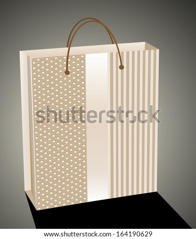 Beige paper gift or shopping bag