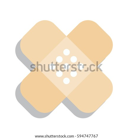 Beige Plaster Band Aid Icon Medical Stock Vector 594747767