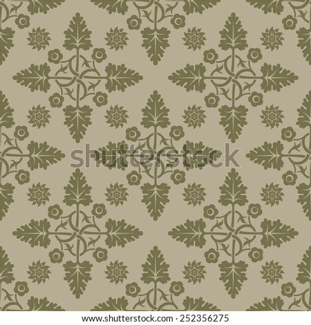 Beige seamless background. Floral elements. Pattern for wallpaper and fabrics. Editable vector file.  - stock vector