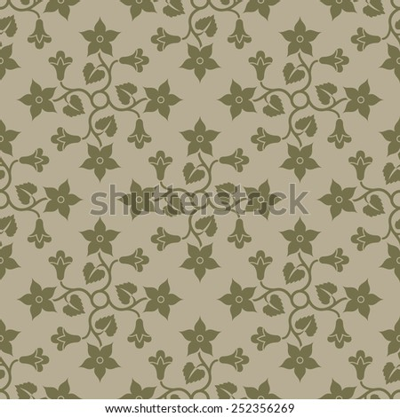 Beige seamless background with floral elements. Pattern for wallpaper and textile. Editable vector file.  - stock vector