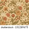 Beige seamless pattern with a vintage flower bouquets carnations and chrysanthemums - stock vector