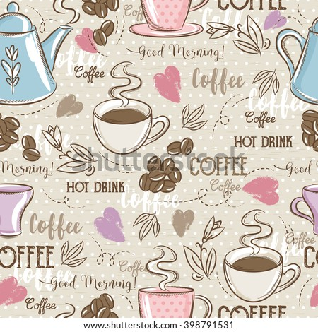 Beige seamless patterns with coffee set, heart, flower and text. Ideal for printing onto fabric and paper or scrap booking. - stock vector