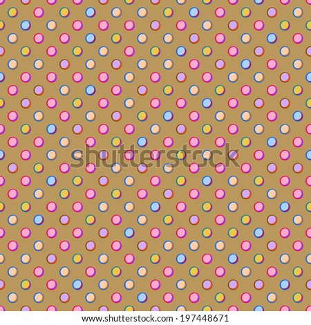 Beige Seamless Polka Dot Pattern with Colorful Pink Yellow Purple Spots. Background - stock vector