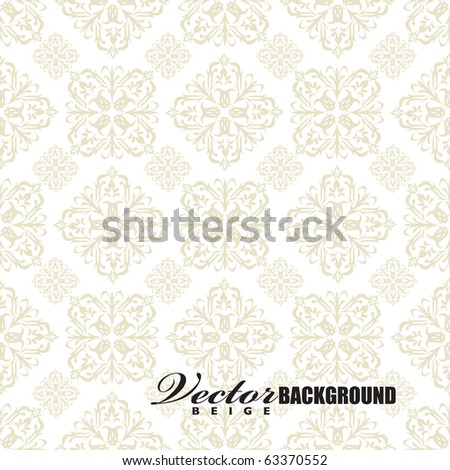 Beige seamless wallpaper pattern design in brown and white - stock vector