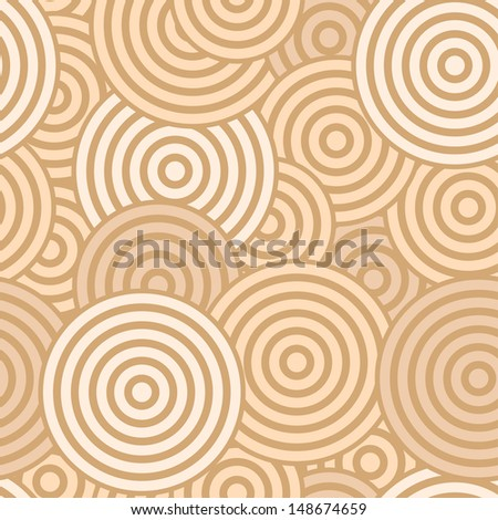 Beige seamless with concentric circles - stock vector