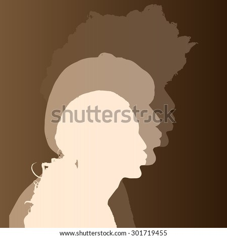 Beige silhouette mans which kiss on brown background.