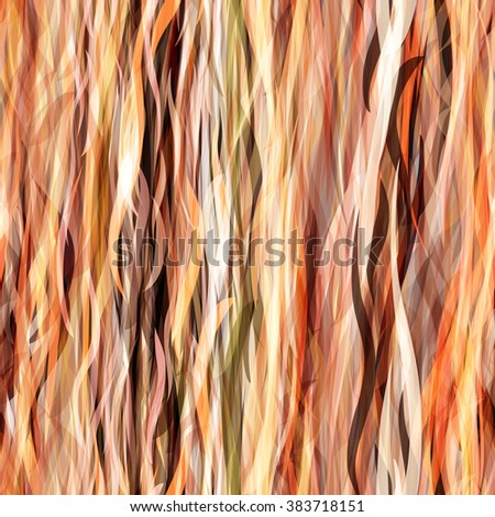 Beige vector seamless pattern. Wavy lines, as yarn or hair. For Boho design - stock vector