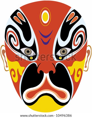 Beijing opera mask of ancient people - stock vector