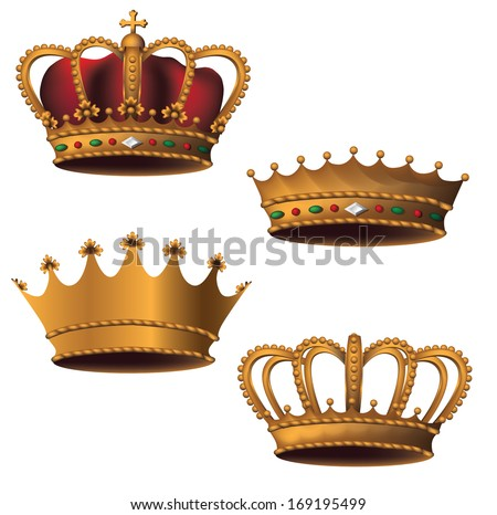 Bejeweled crown collection. EPS 10 vector, grouped for easy editing. No open shapes or paths. - stock vector