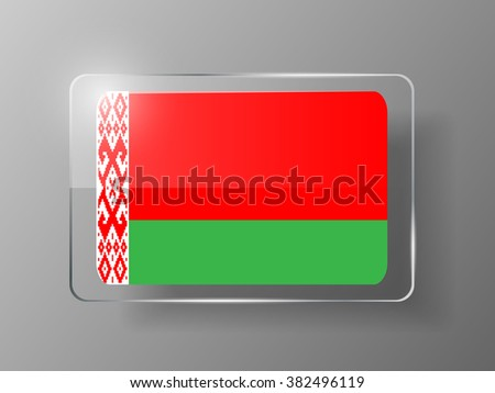 Belarus Flag Glossy Button. Vector illustration.