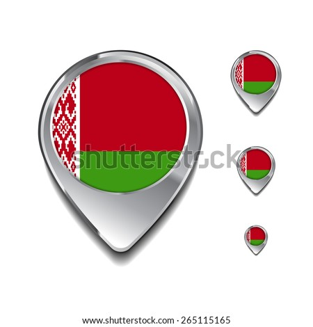 Belarus flag map pointer. 3d Map Pointer with flag glossy button style on gray background - stock vector