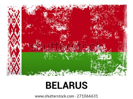 Belarus grunge flag isolated vector in official colors and Proportion Correctly. country's name label in bottom - stock vector
