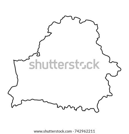 Belarus Map Of Black Contour Curves Vector Illustration
