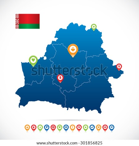 Belarus Map with navigation icons - stock vector