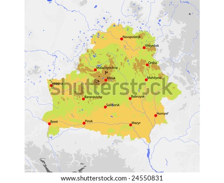 Belarus. Physical vector map, colored according to elevation, with rivers and selected cities. Surrounding territory greyed out. 21 named layers, fully editable. Data source: NASA - stock vector