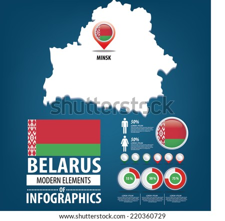 Belarus vector set. flags and icons isolated on white background. - stock vector
