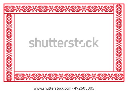 Belarusian embroidery vector frame.