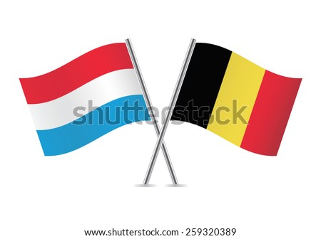 Belgian and Luxembourg flags. Vector illustration. - stock vector