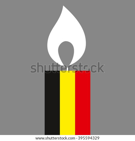 Belgian flag as memory candle. Vector illustration for banner, poster in commemoration of the victims of the Brussels terrorist attack. Anti-terrorism concept.