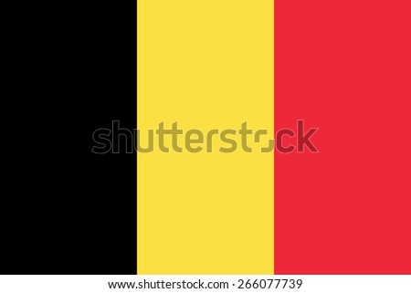 Belgian flag. State government symbol of the country. True proportions and colors. Consists of three vertical stripes - black, yellow and red. Can be used to refer Belgium in design and maps. - stock vector