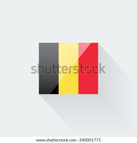Belgian flag vector glossy icon. Correct proportions and color scheme. - stock vector