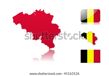 Belgian map including: map with reflection, map in flag colors, glossy and normal flag. - stock vector
