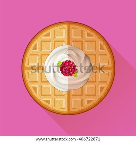 Belgian waffle with cream and raspberry icon