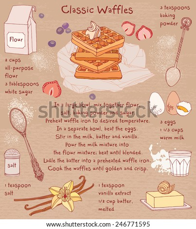 Belgian waffles. Recipe card. Food ingredients.