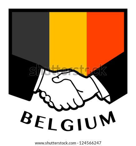 Belgium Flag And Business Handshake Vector Illustration