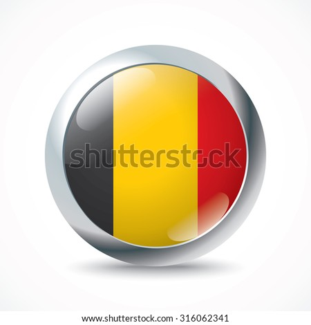 Belgium flag button - vector illustration - stock vector