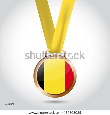 Belgium Flag in Bronze Medal. Olympic Game Bronze Medal. Vector Illustration - stock vector