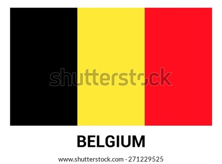 Belgium flag isolated vector in official colors and Proportion Correctly. country's name label in bottom - stock vector