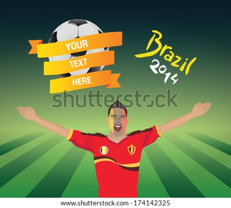 Belgium football fan  - stock vector
