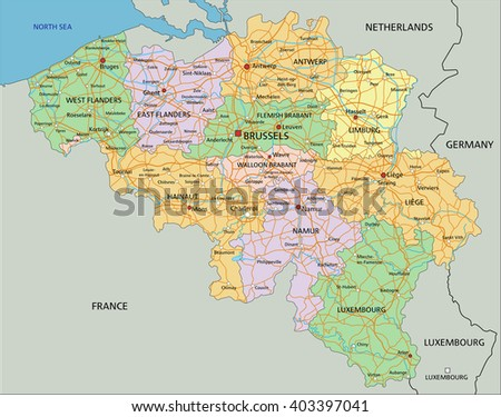 belgium highly detailed editable political map with labeling