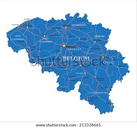 Belgium map - stock vector