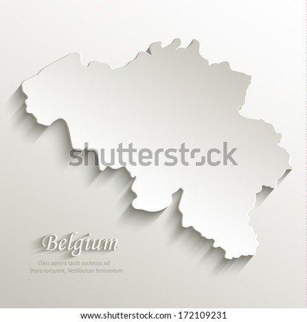 Belgium map card paper 3D natural vector - stock vector