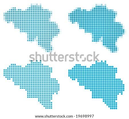 Belgium map mosaic set. Isolated on white background. - stock vector