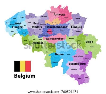 Belgium Map Showing Provinces Administrative Subdivisions Stock