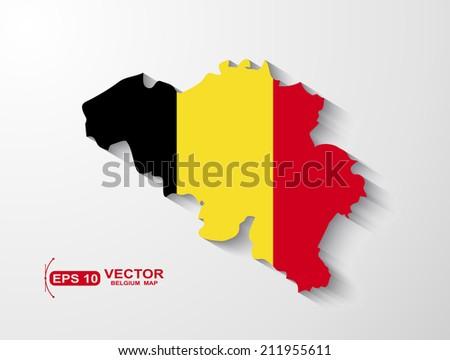 Belgium map with shadow effect - stock vector
