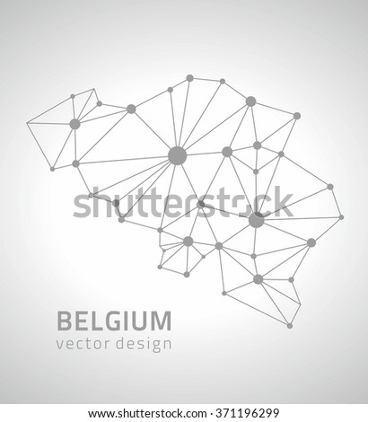 Belgium outline map - stock vector