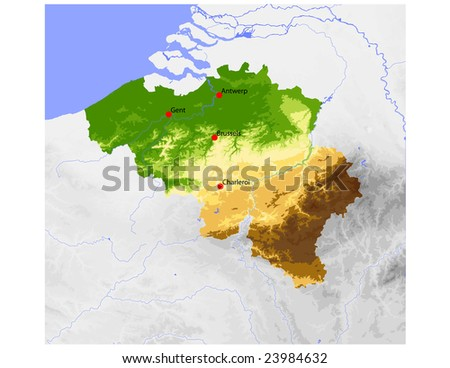 Belgium. Physical vector map, colored according to elevation, with rivers and selected cities. Surrounding territory greyed out. 27 named layers, fully editable. Data source: NASA - stock vector
