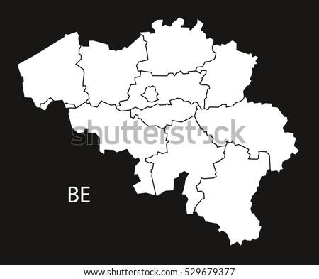 belgium regions map black white